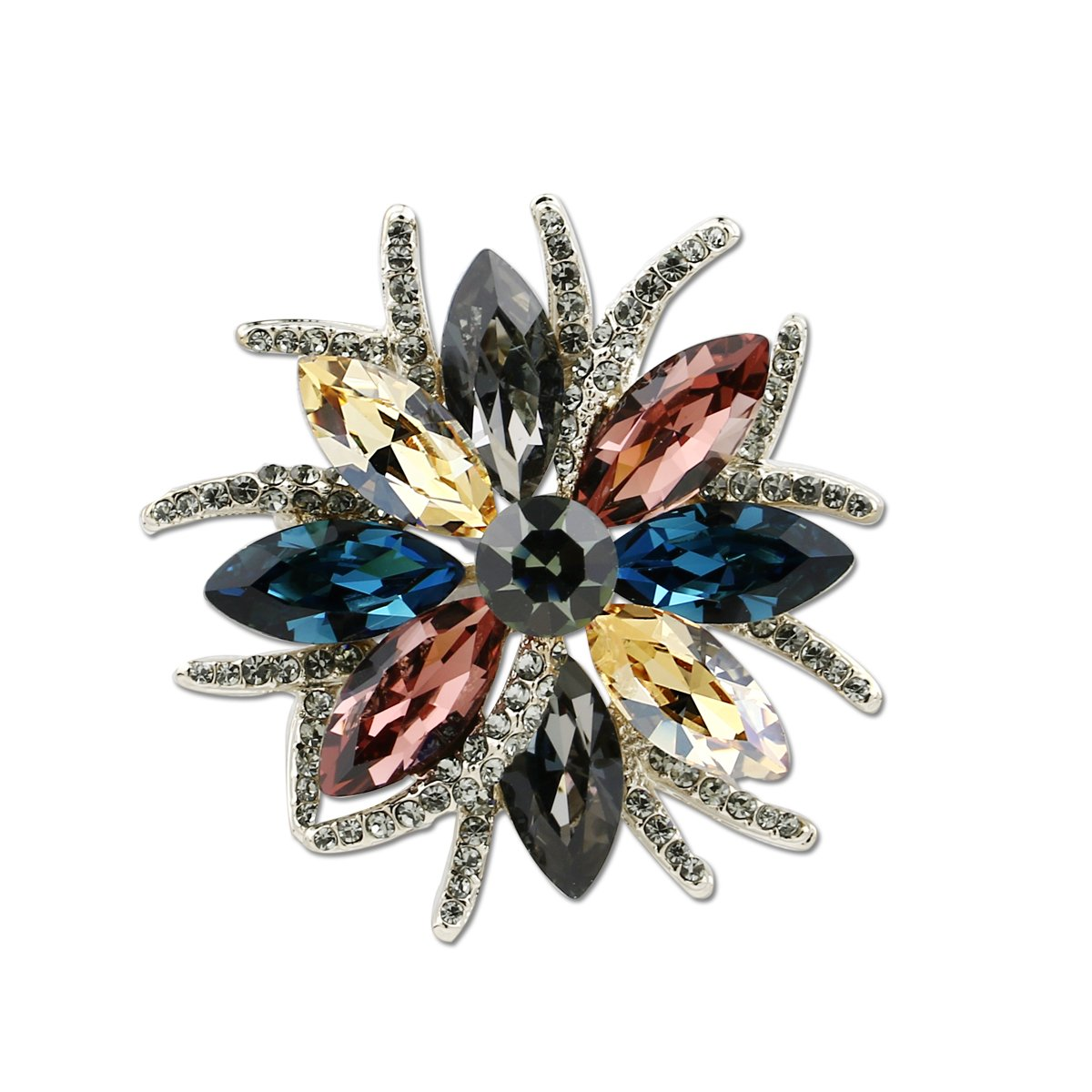 DONGZHOU Womens Wedding Banquet Bouquet Luxury Rhinestone Crystal Brooch Pin Broach