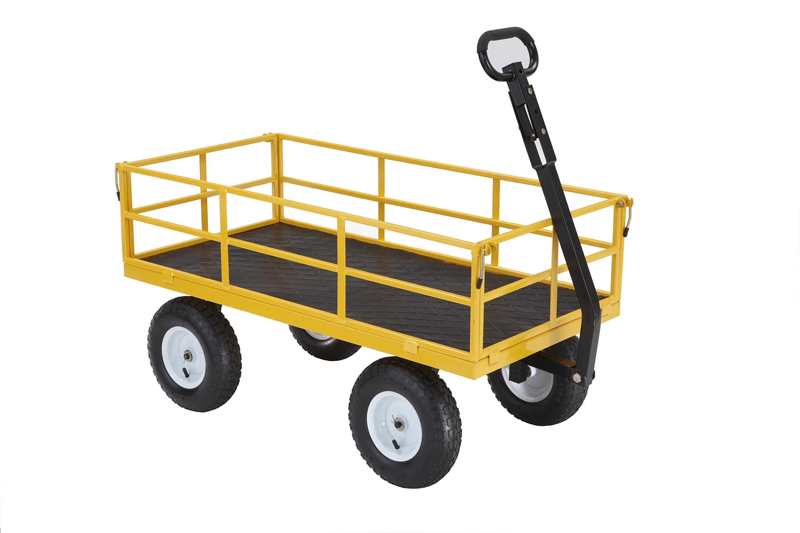 Gorilla Carts Heavy-Duty Steel Utility Cart with Removable Sides and 13'' Tires with 1200 lb Capacity, Yellow