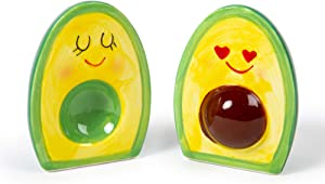 Luciano Housewares, Adorable Novelty Ceramic Avocado Salt and Pepper Shakers Set, 35ml, Green, 35 ml