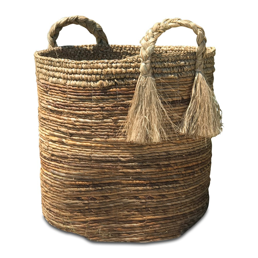 Whole House Worlds The Boho Beach House Tassel Basket, Relaxed Coastal Style, Woven Banana Leaf and Sisal, Barrel Shape, Braided Top Handles, By by Whole House Worlds