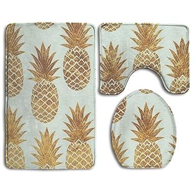 Gold Pineapple Pattern 3-Piece Soft Bath Rug Set Includes Bathroom Mat Contour Rug Lid Toilet Cover Home Decorative Doormat