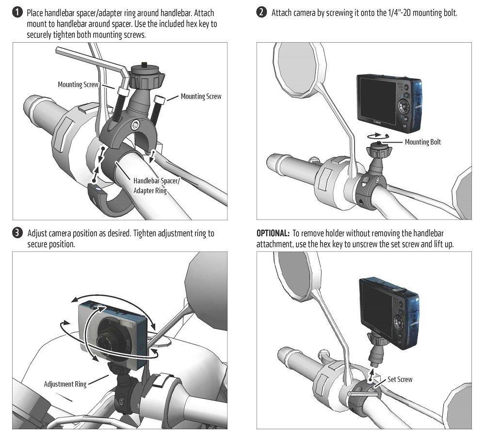 MC2CCAM Arkon Premium Aluminum Motorcycle Handlebar Camera Mount Arkon Resources Inc