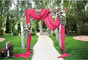 DORCEV 10x6.5ft Wedding Garden Photography Backdrop Romance Garden Path Red Curtain Arch Background Wedding Bridal Shower Wedding Ceremony Marriage Photo Wallpaper Decor