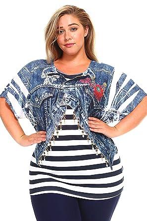 8d14b220 ALLBrand Women's Plus Size Scoop Neck Fashion T-Shirt Sublimation Print Top  Tee (1