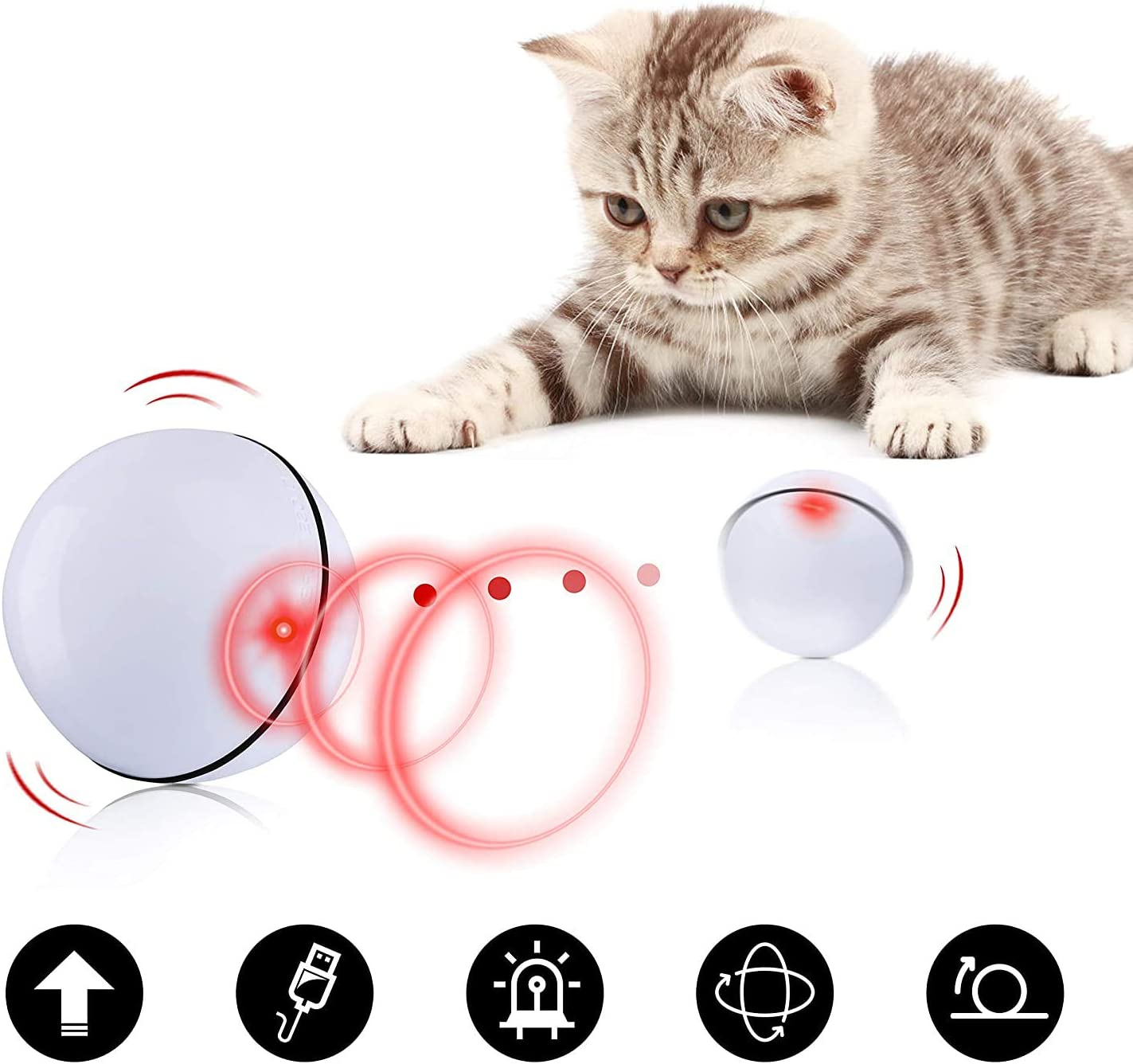 Automatic/Rolling Smart Interactive Pet Toy Ball Fun Gift for Kittens Kitty Doggies Puppies with RGB LED Lights Silicone Waterproof Blinkbrione Cats and Dogs Toys Wicked Balls USB Rechargeable