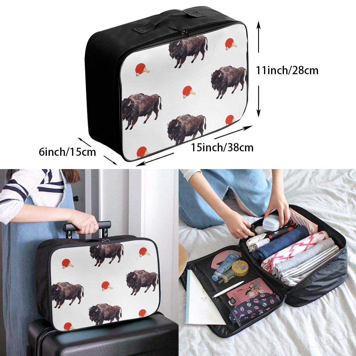 YueLJB Bison Table Tennis Lightweight Large Capacity Portable Luggage Bag Travel Duffel Bag Storage Carry Luggage Duffle Tote Bag