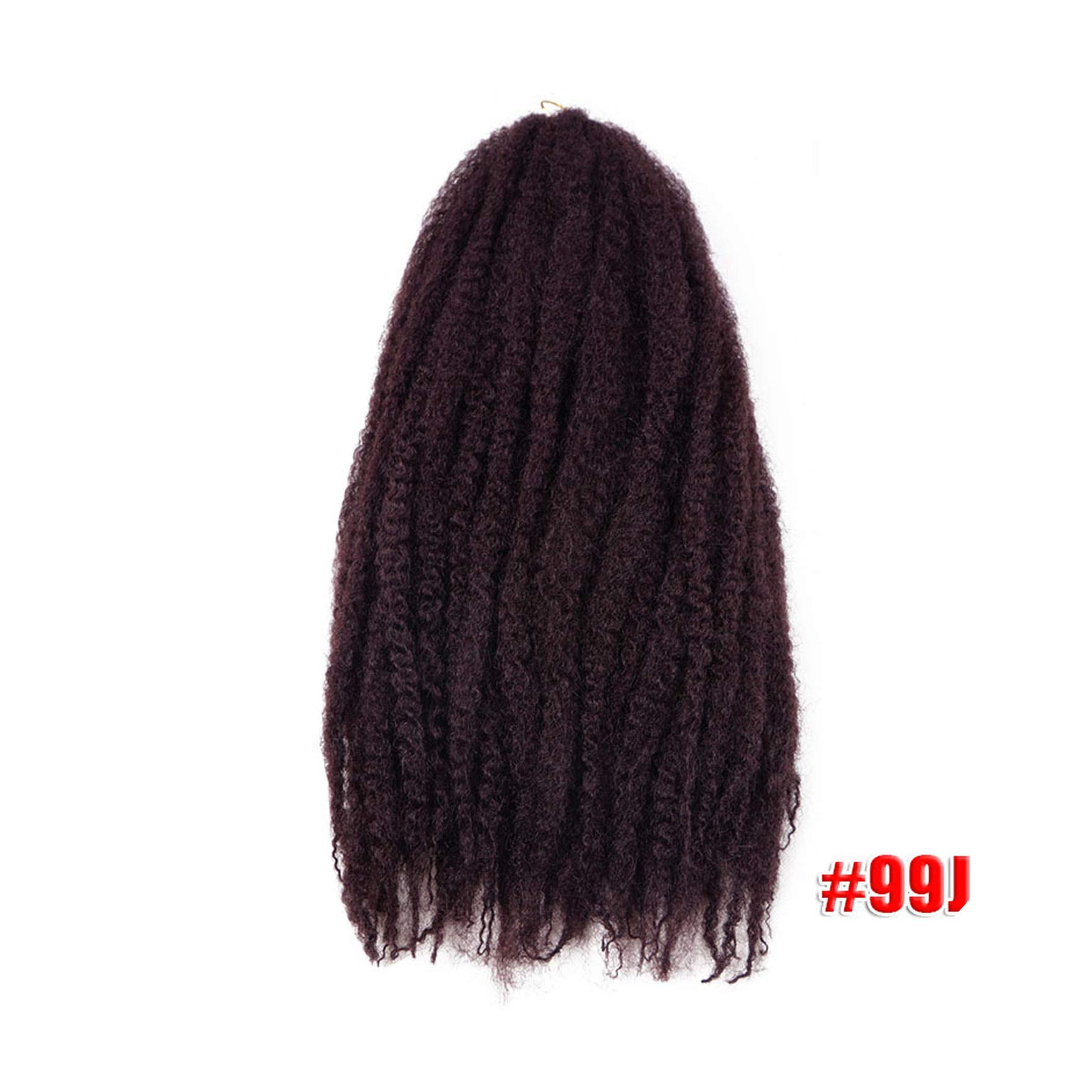 Afro Kinky Marley Braids Hair 18inch Soft Jumbo Crochet Braids Hair Extensions Synthetic Red Long Ombre Marley Twist Hair,#99J,18inches,5Pcs/Lot by Yinshizhu21