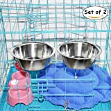 Hanging Pet Bowl, MLCINI Stainless Steel Food Water Bowls Bunny Feeder with Hook for Dogs Cats in Crate Cage Kennel