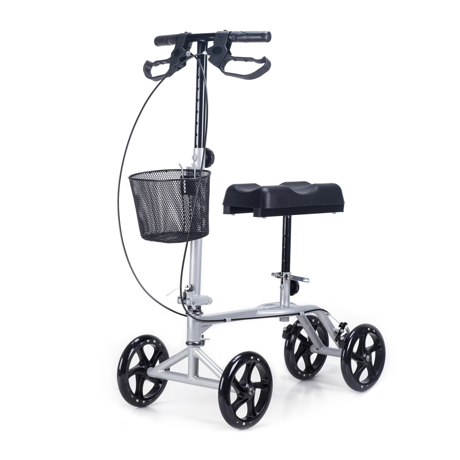CO-Z Steerable Foldable Knee Walker Roller Scooter with Basket, 8'' Antiskid Rubber Wheels, Safety Double Brakes, Leg Walker Crutch (Silver)