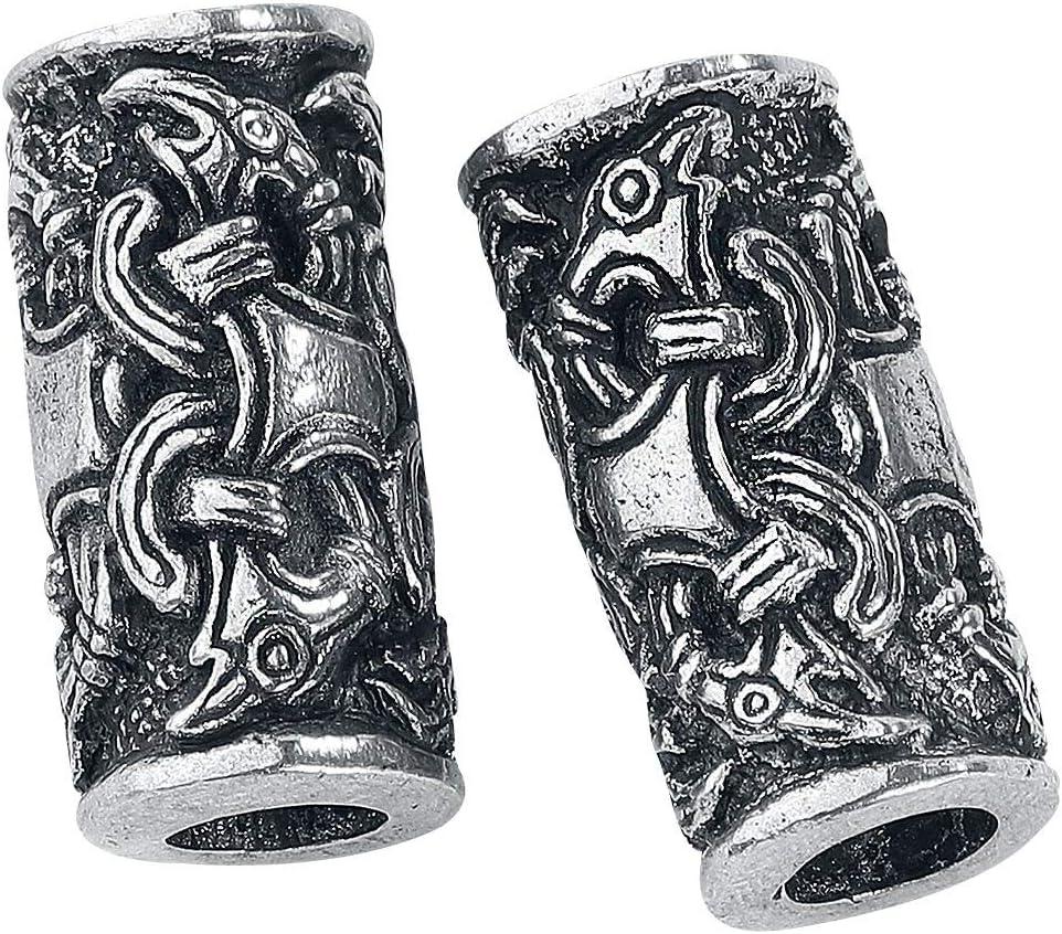 Asgard 2 Cuentas Vikingas Cuervos de Odín - Adorno Vikingo Perlas para Barbas, Rastas, Pelo, Pulseras