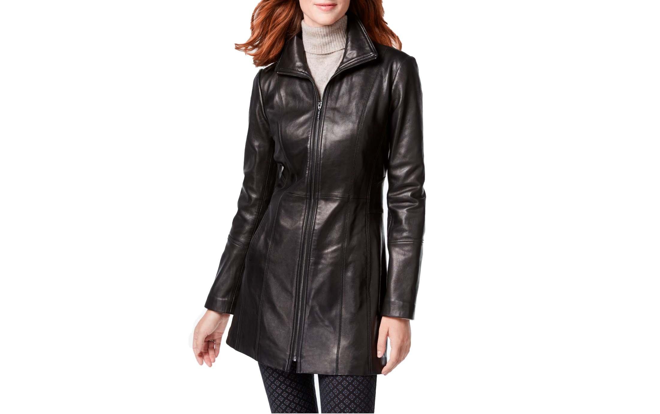ANNE KLEIN Mid-Length Zip Front Leather Jacket-Black-M