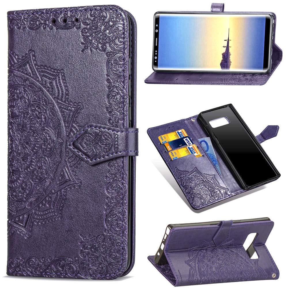 Find box Samsung Galaxy Note 8 Case Leather,Folio Flip Stand Case Wallet Case ID Credit Card [Kickstand Feature] Cover for Samsung Galaxy Note 8 Purple