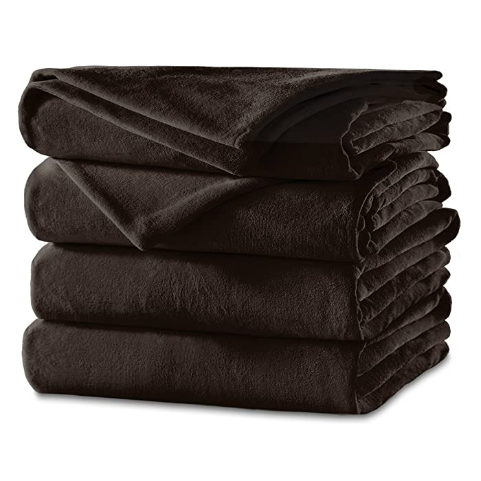 Sunbeam Heated Blanket | Velvet Plush, 10 Heat Settings, Walnut, King
