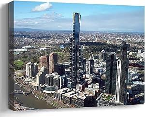 Wall Art Canvas Print Photo Artwork Home Decor (24x16 inches)- Buildings Eureka Tower Melbourne Skyscraper
