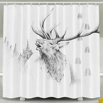 Amazon Elk Bugle Fine Art Print Shower Curtain Waterproof Water