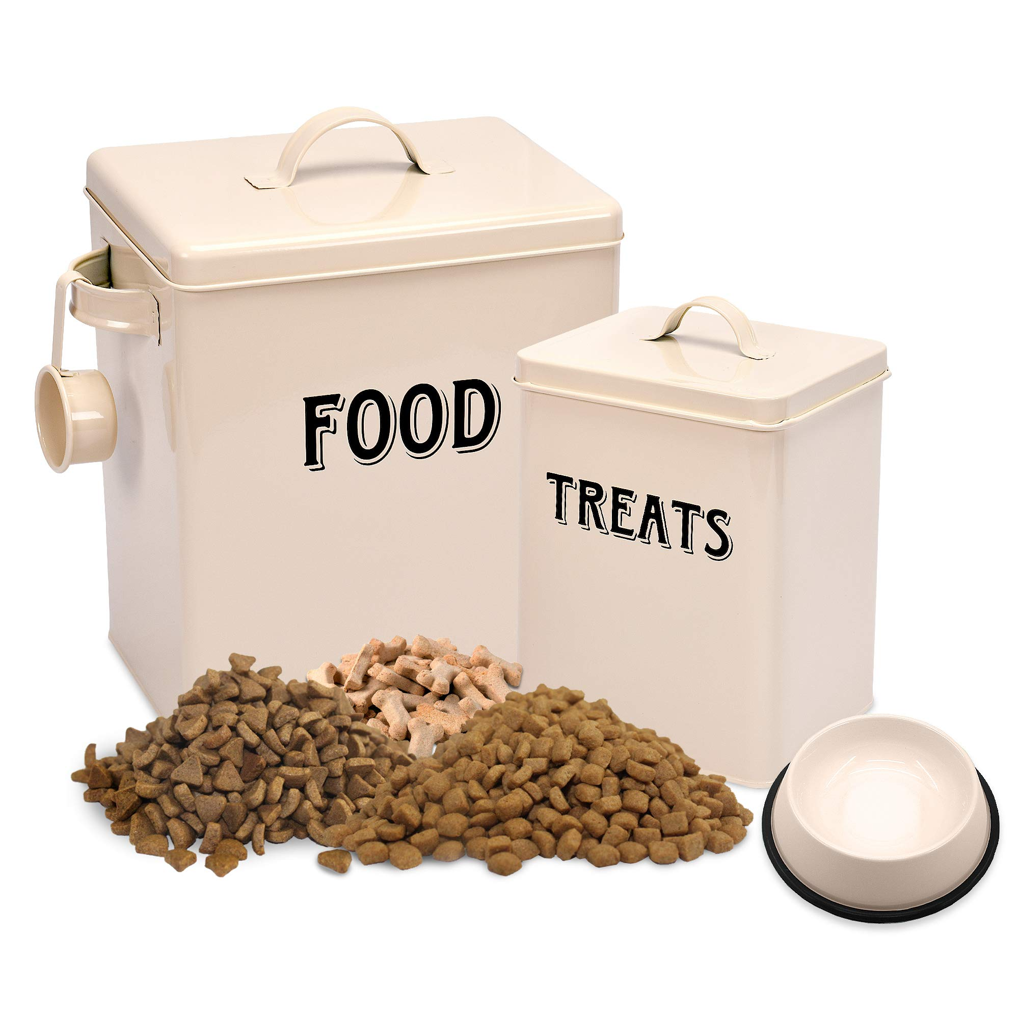Silky Road Pet Food and Treats Containers Set with Scoop and Bowl for Cats or Dogs Vintage Cream Powder-Coated Carbon Steel - Air-Tight Fitting Lid - Storage Canister Tins
