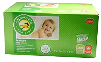 Comforts for Baby Scented 360 ct Quilted Thick Baby Wipes with Vitamin E & Aloe Hypoallergenic