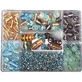RAYHER 14003404, Glasperlen-Box, Farb- und Größenmix, SB-Box 115 g, türkis