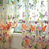 haoun 2pcs Butterfly Window Panels Drapes Curtains Sheer Voile Tulle Home Room 39.4x78.8""