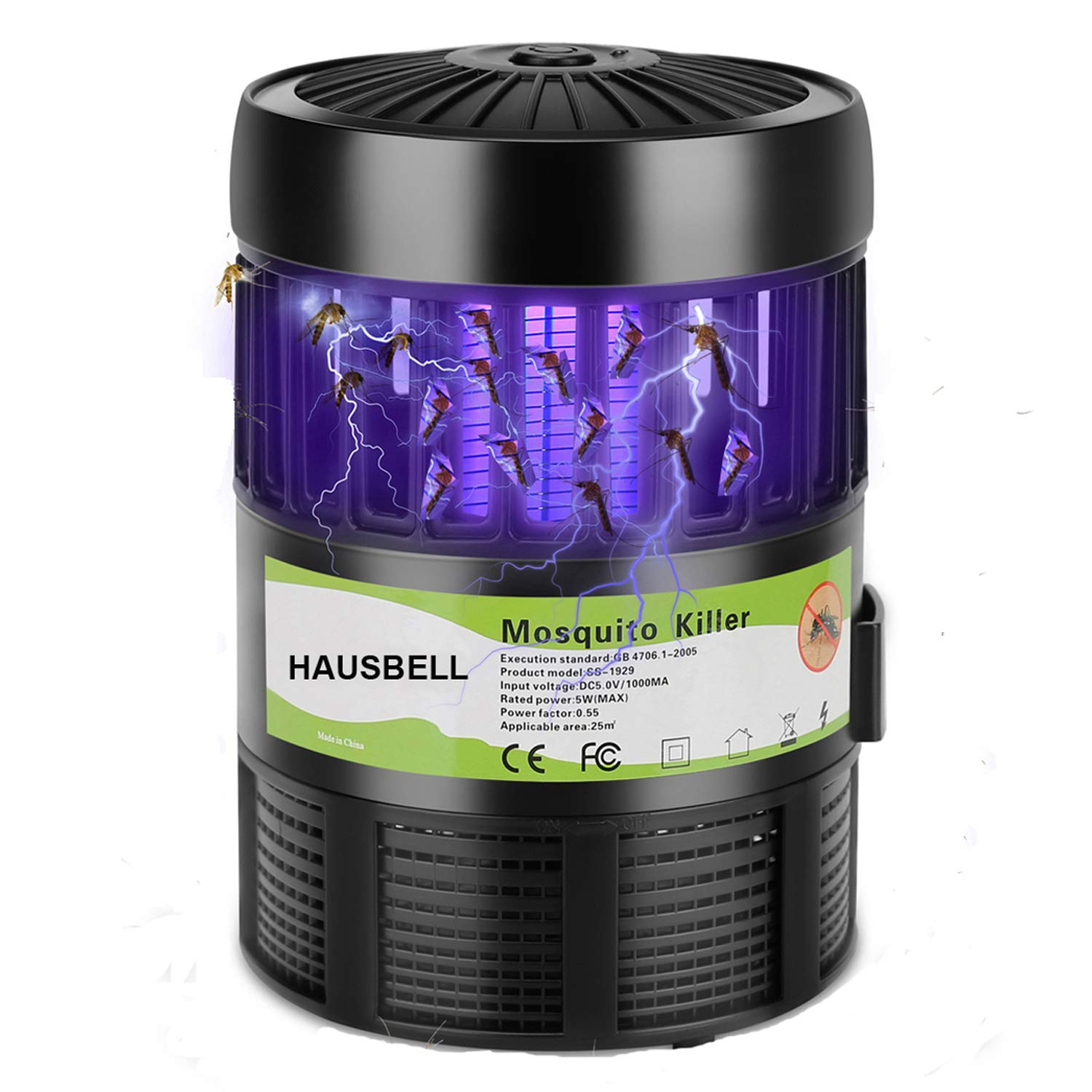 HAUSBELL Mosquito Killer Lamp, Electric Bug Zapper, Mosquito Fly Trap, Bug Control Inhaler, UV LED Insects Bee Zapper, USB Powered (Black-1Pack) 711m9SBe9TL