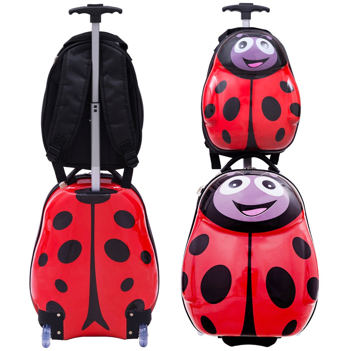 Goplus 2Pc 13'' 19'' Kids Carry On Luggage Set Travel Trolley Suitcase (Ladybug) by Goplus (Image #6)