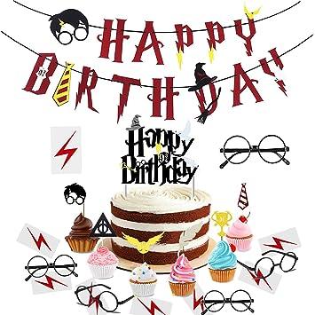 xingqiwu Artículos de Fiesta para Harry Potter: Pancarta de Feliz cumpleaños Primeros para Cupcakes inspirados en Harry Potter, Gafas de Mago y ...