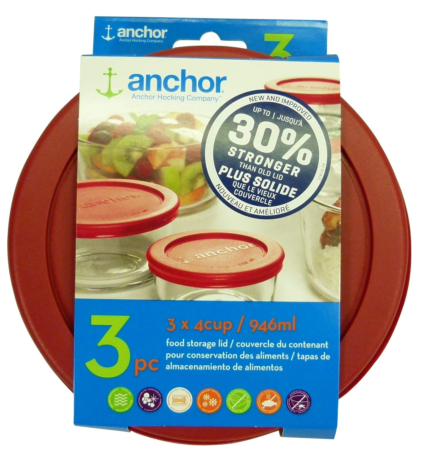Anchor Hocking Improved 30% Stronger Replacement Lid 4 Cup / 946 ml / 1 qt, Set of 3 lids, Red Round by Anchor Hocking