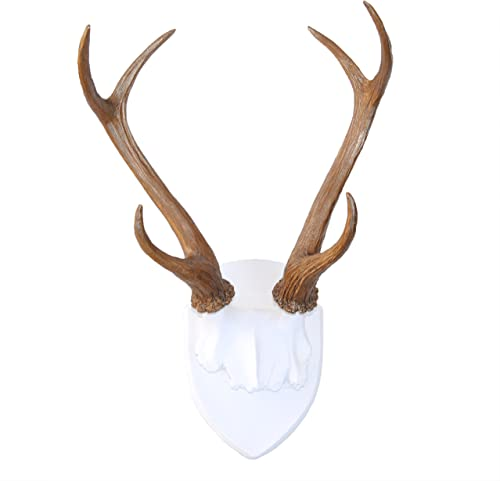 Near and Deer HT0109 Faux Taxidermy Deer Antler Wall Mount, White Bronze
