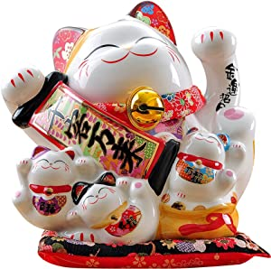 Large Size Ceramic Thriving Business Maneki Neko Lucky Cat(Beckoning Cat),Best Gift for Business Opening,Feng Shui Decor Attract Wealth and Good Luck