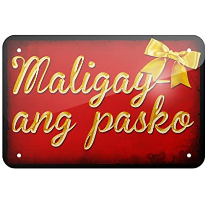 metal sign merry christmas in tagalog from philippines large 12x18 neonblond - Merry Christmas Tagalog