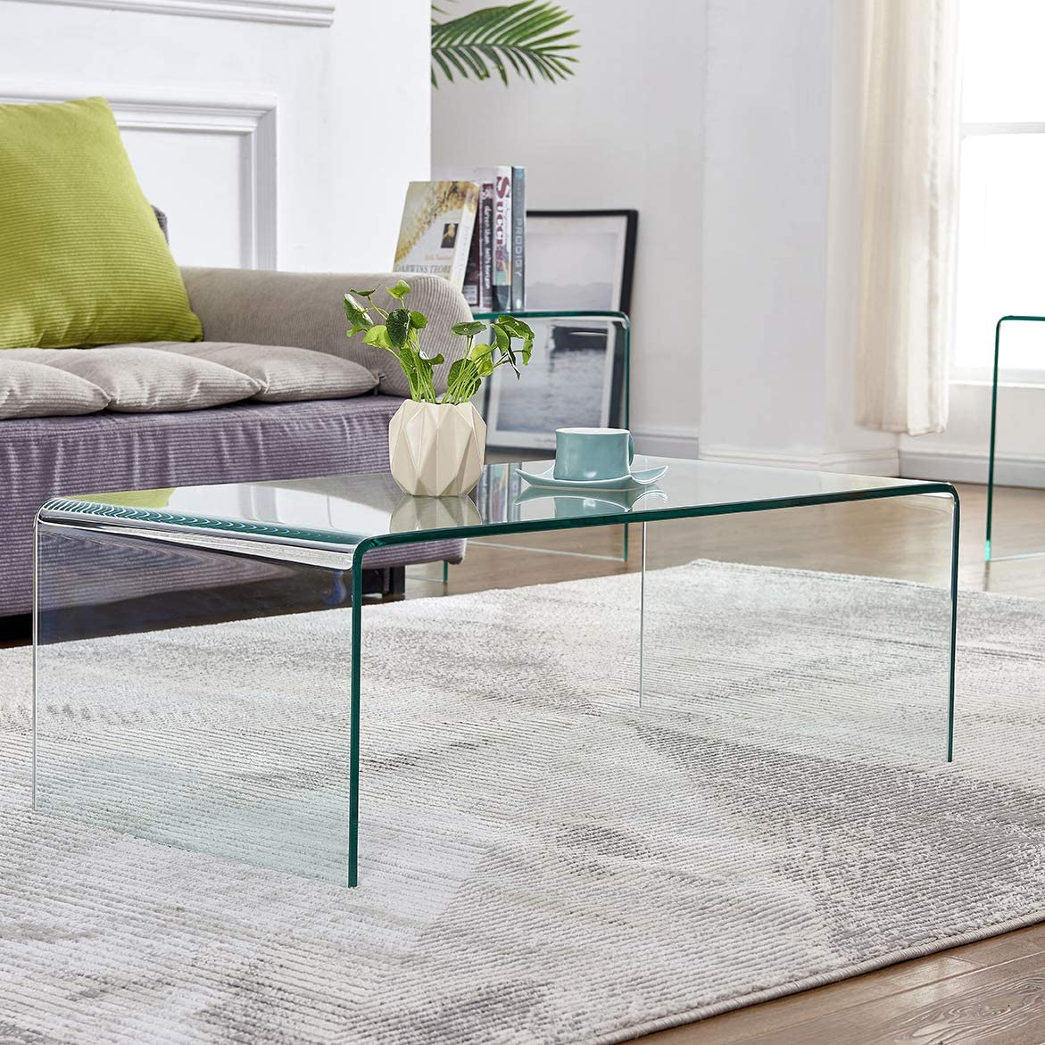 Amazon.com: Glass Coffee Table for Living Room Tempered Glass Modern Coffee  Table Clear End Table Outdoor Table: Home & Kitchen