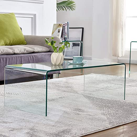 Amazon Com Glass Coffee Table For Living Room Tempered Glass