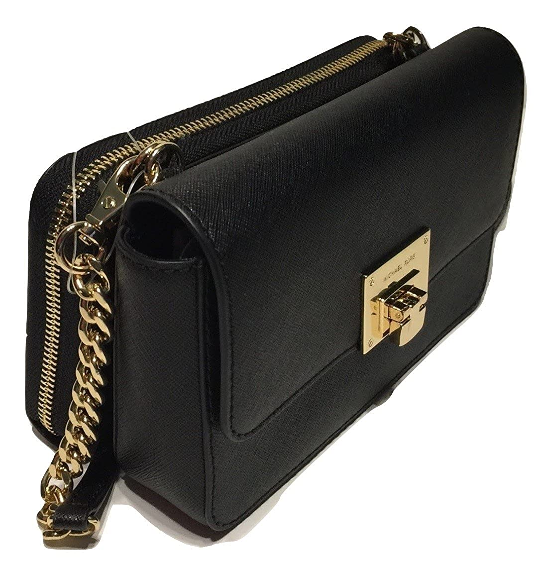 3d0ca7bdef20e MICHAEL Michael Kors Tina Clutch Crossbody with Detachable Wallet (Black)   Handbags  Amazon.com