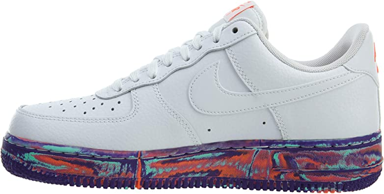 NIKE Mens Air Force 1 Low LV8 Marble Basketball Shoes White