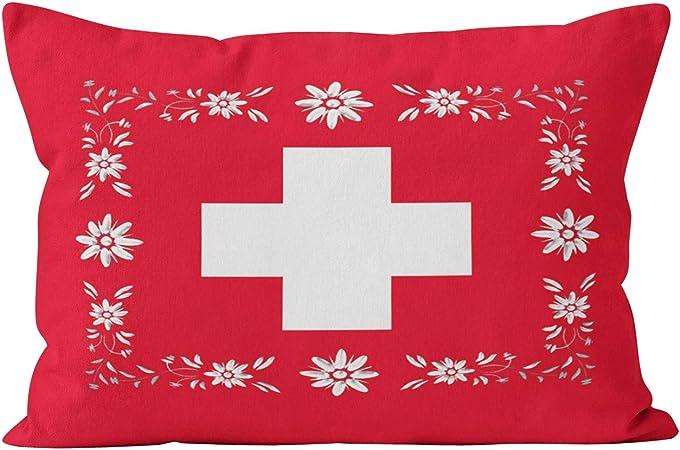 Wesbin - Funda de cojín con diseño de la Bandera Suiza y Edelweiss con Cremallera Oculta: Amazon.es: Hogar