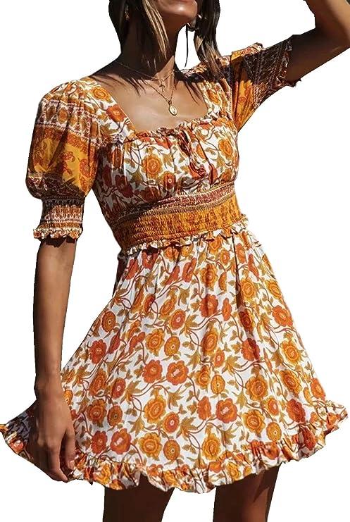 70s Clothes | Hippie Clothes & Outfits R.Vivimos Womens Summer Short Sleeve Cotton Floral Print Bohemian Mini Dress $28.99 AT vintagedancer.com