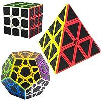 Speed Cubes Pyraminx + Megaminx + 3x3x3, LSMY 3 Pack Puzzle Magic Cube Carbon Fiber Sticker Toy