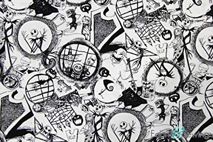 Nightmare Before Christmas Images Black And White.The Nightmare Before Christmas Black And White Licensed Sheeting Fabric Cotton 4 Oz 44 45