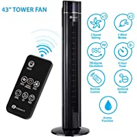 PureMate 43-inch Oscillating Tower Fan with Ioniser and Aroma Function - 60W Motor & Remote Control - 8 Hour Timer and 3-Speeds Settings for Home and Office