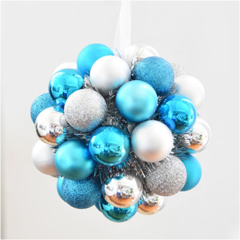 OOFYHOME Christmas ball, decorative ball, string flower ring Hydrangea, decorative pendant, Christmas tree decoration, window scene props lob , C