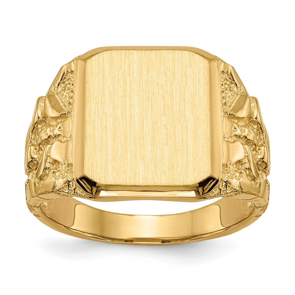 Roy Rose Jewelry 14K Yellow Gold Open Back Mens Nugget Sides Square Top Signet Ring Custom Personailzed with Free Engraving Available Initial or Monogram ~ Size 10