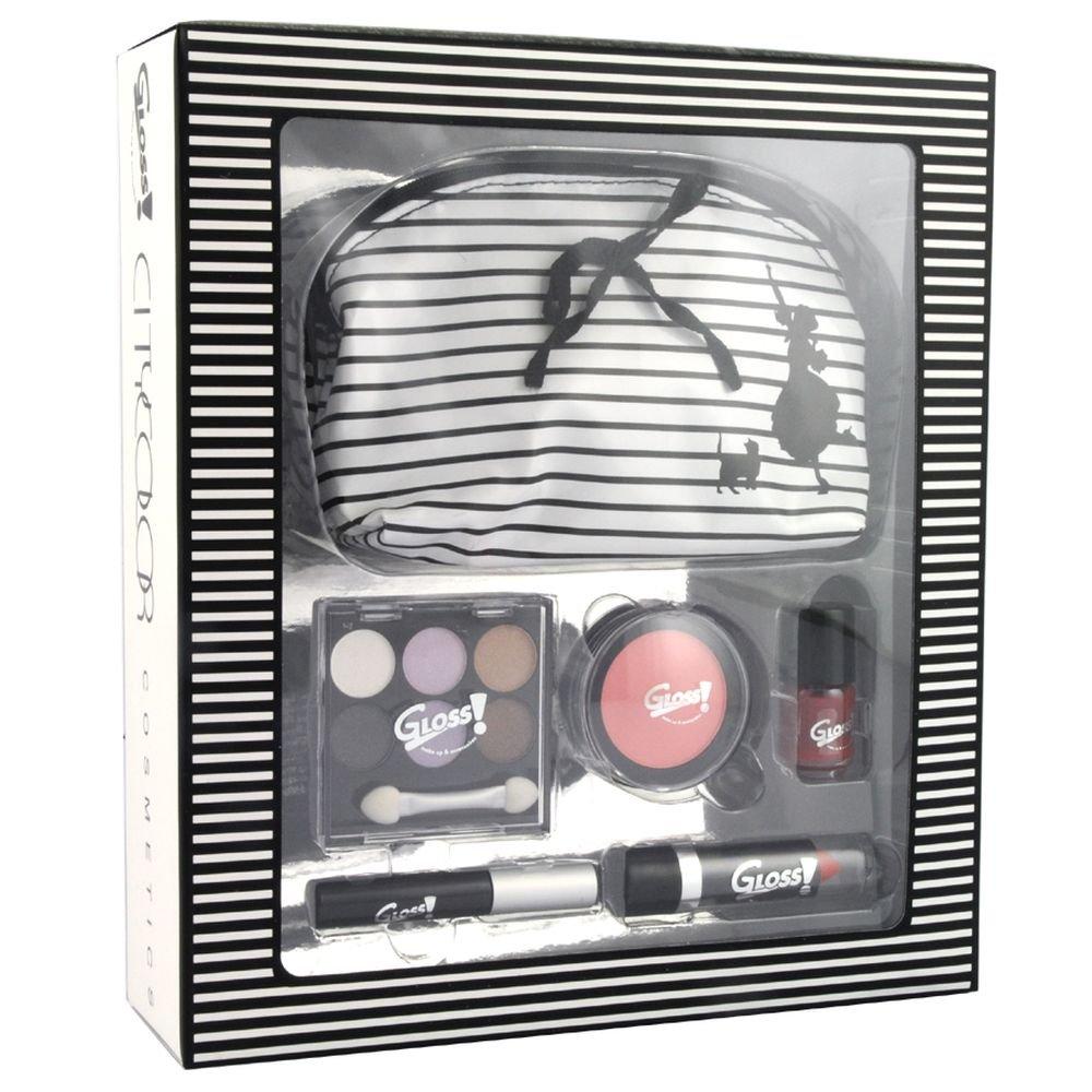 Gloss ! Make up & accessoires Rayée Noir et Blanc 26 Pièces, Coffret Cadeau-Coffret Maquillage GM-10002A