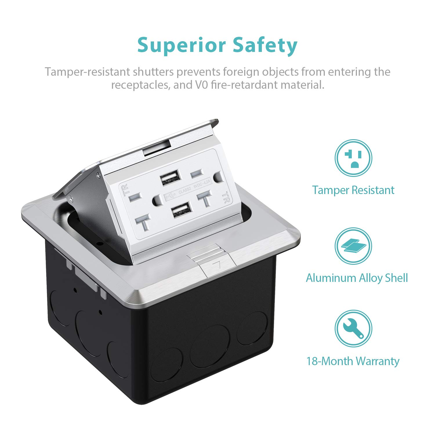 Tamper-Resistant Receptacle WEBANG Pop-Up Outlet Stainless Steel Floor Box Countertop Box 20A Electrical Outlet