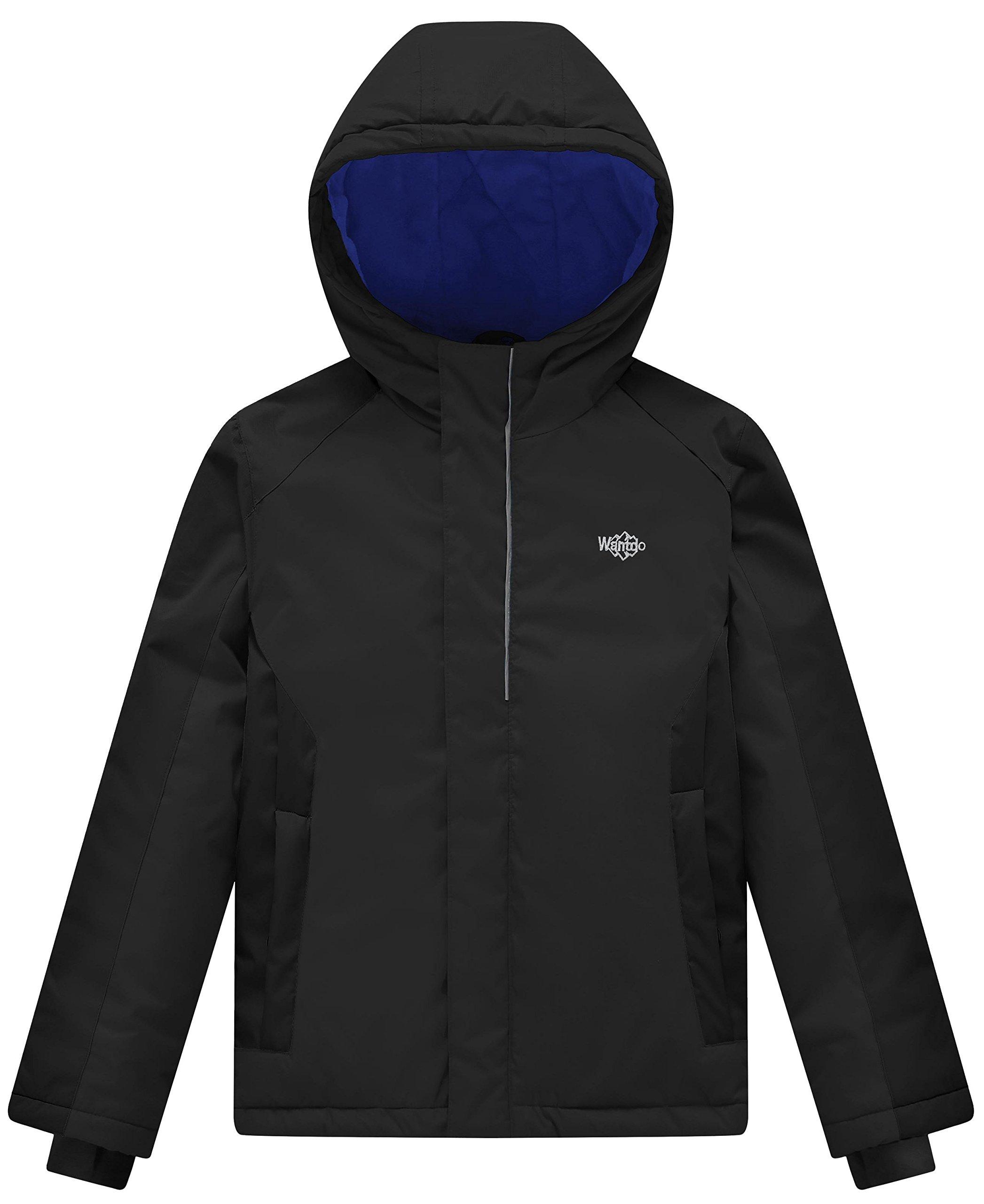 Wantdo Boy's Waterproof Quilted Ski Jacket Cotton Padded Coat Hooded Rain Wear(Black, 8)