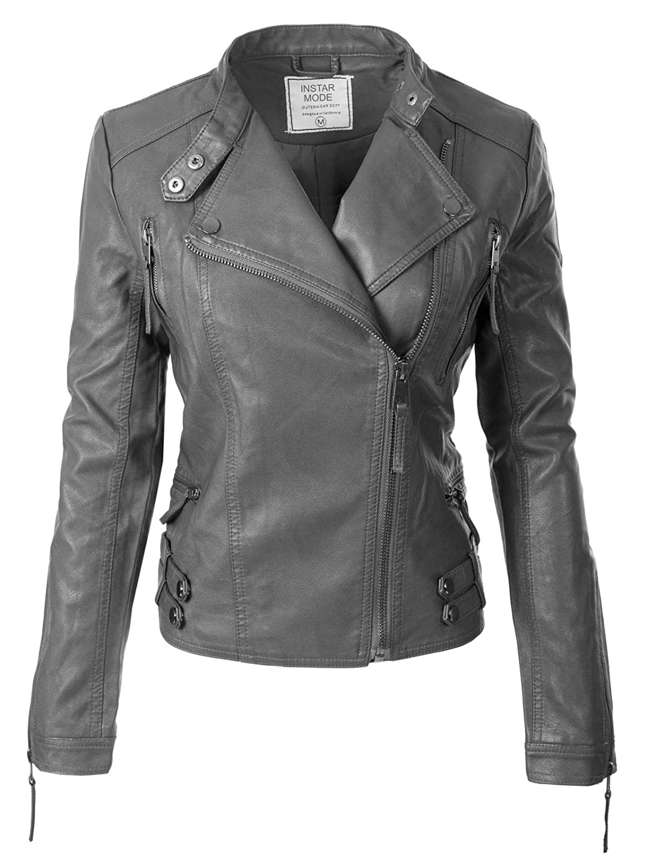 Ijkw015 Charcoal Instar Mode Women's Long Sleeve Zipper Closure Moto Biker Faux Leather Jacket