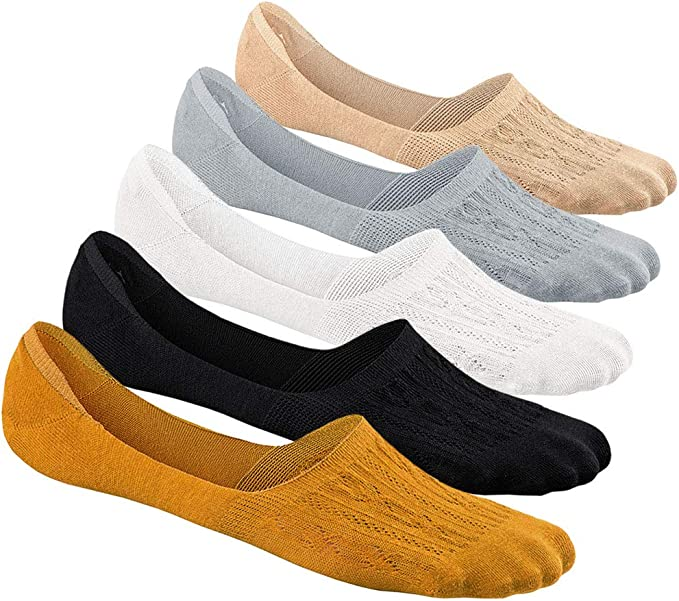 Womens Invisible Trainer Socks Ladies No Show Liner Non Slip Ultra Low Cut Casual Cotton Socks 5 Pairs