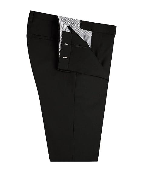 b69897957b06 T.M.Lewin Men's Suit Trousers Pants Aldwych Slim Fit Plain Black Barberis  Wool: Amazon.co.uk: Clothing