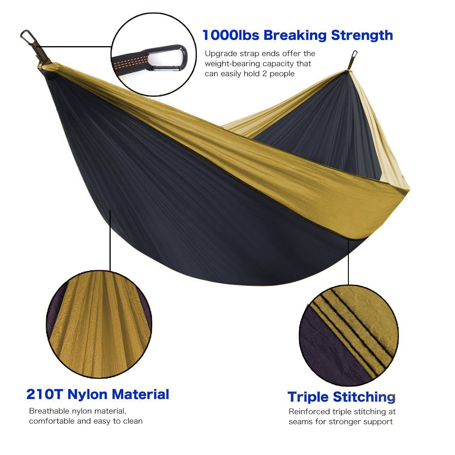 Unigear Single /& Double Camping Hammock Portable Lightweight Parachute Nylon Hammock with Tree Straps for Backpacking Camping Beach Travel Garden