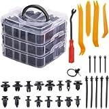 675 Pcs Car Retainer Clips & Plastic Fasteners Kit 16 Most Popular Sizes - 630 Plastic Car Door Panel Trim Clips Kit, 4…