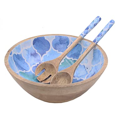 Wooden Large Mixing and Serving Bowl Set with 2 Servers, for Salad, Fruits, Pasta and Vegetable - 12  Diameter x 5  Height (Ocean Blue)